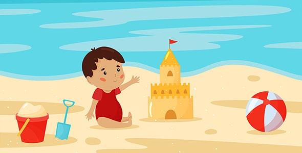 وکتور کارتونی پسربچه در ساحل دریا و تابستان