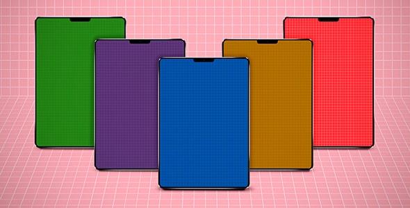 فایل لایه باز موکاپ مجموعه تبلت رنگارنگ