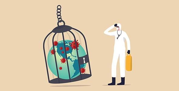 وکتور کارتونی با مفهوم قرنطینه کشورها