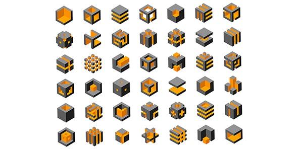 وکتور مجموعه لوگو سه بعدی مکعب