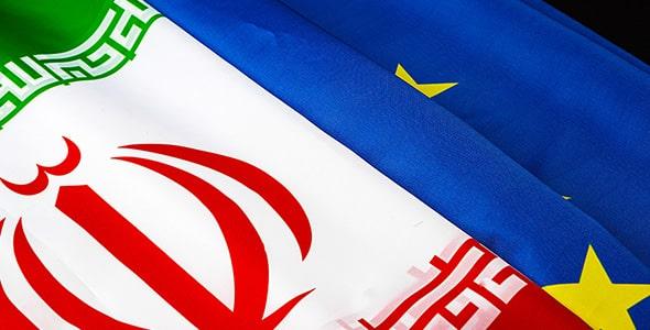 تصویر پرچم ایران و اتحادیه اروپا