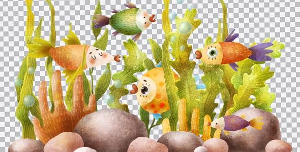 تصویر PNG تصویرسازی ماهی های آکواریوم