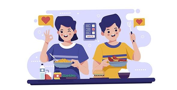 وکتور کاراکتر کارتونی زن و مرد جوان و آشپزی