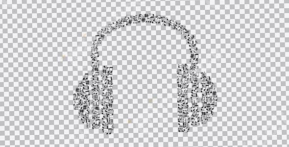 تصویر PNG هدفون با طرح نت موسیقی