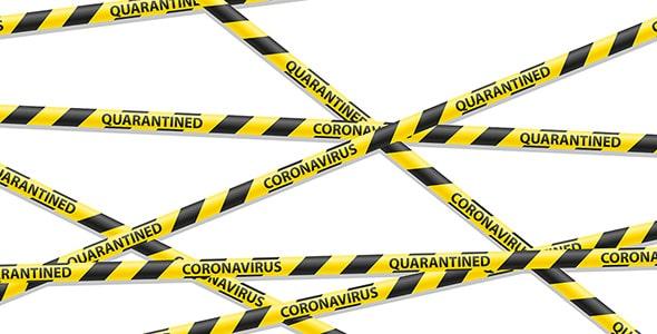 وکتور روبان و نوار اخطار ویروس کووید 19