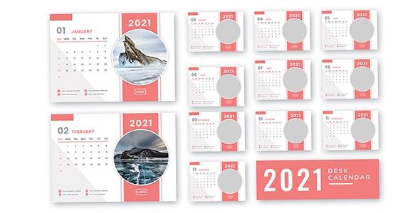 فایل لایه باز تقویم میلادی سال 2021