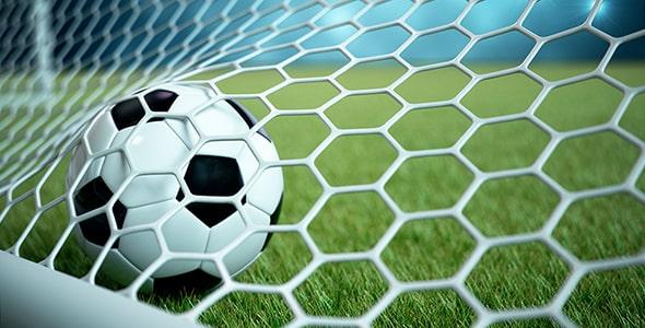 تصویر رندر 3D توپ و تور فوتبال در استادیوم