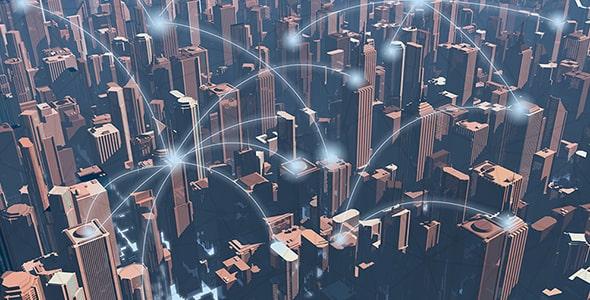 تصویر نمای بالای شهر با مفهوم دوستی مجازی