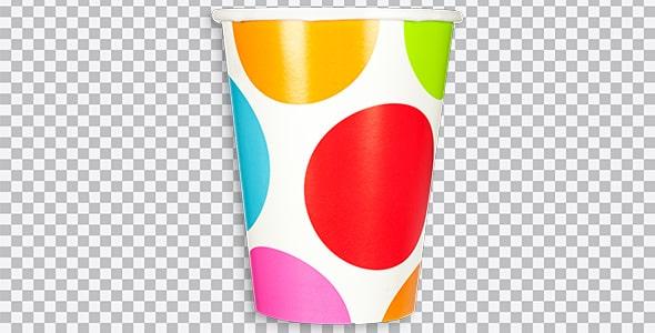 تصویر PNG لیوان کاغذی رنگارنگ