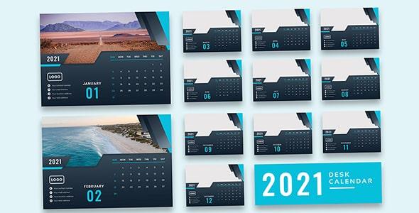 فایل لایه باز طراحی مدرن تقویم سال 2021