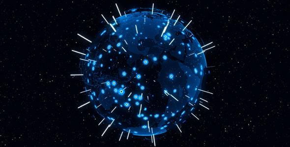 تصویر رندر سه بعدی کره زمین و نقشه جهان