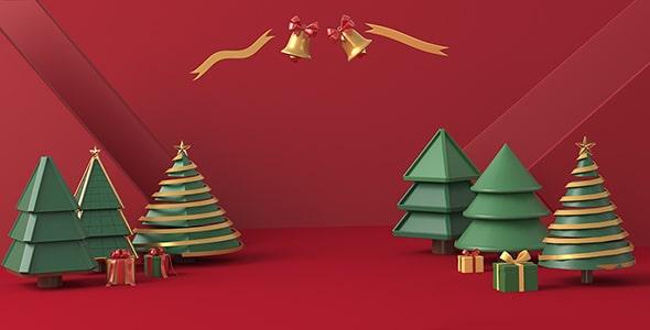 تصویر رندر سه بعدی مجموعه درخت کریسمس