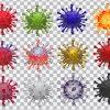 تصویر PNG مجموعه رندر سه بعدی ویروس کرونا