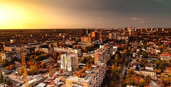 تصویر پانوراما نمای شهری و غروب آفتاب