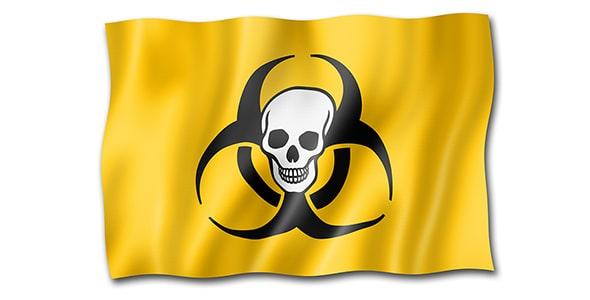تصویر پرچم با مفهوم مرگ و نماد خطر زیستی