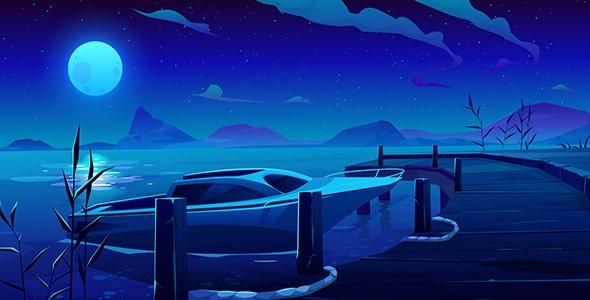 وکتور منظره رودخانه و اسکله با قایق در شب