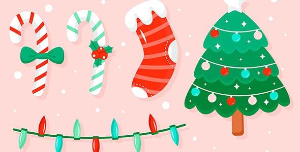 وکتور طراحی فلت مجموعه عناصر کریسمس