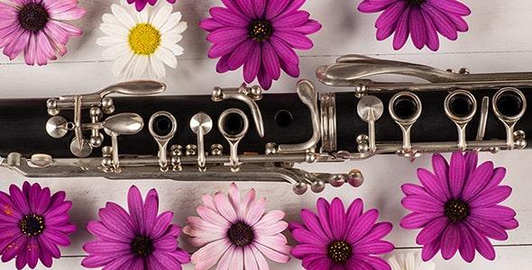 تصویر نمای بالا کلارینت با مجموعه گل
