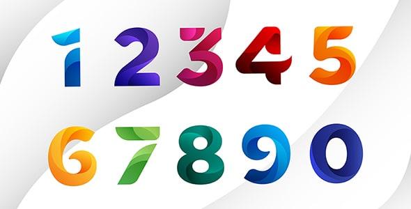 وکتور انتزاعی مجموعه اعداد گرافیکی انگلیسی