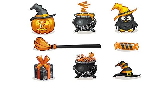 وکتور مجموعه آیکون کارتونی جشن هالووین
