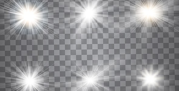 وکتور مجموعه ستاره نورانی و درخشان ترنسپرنت