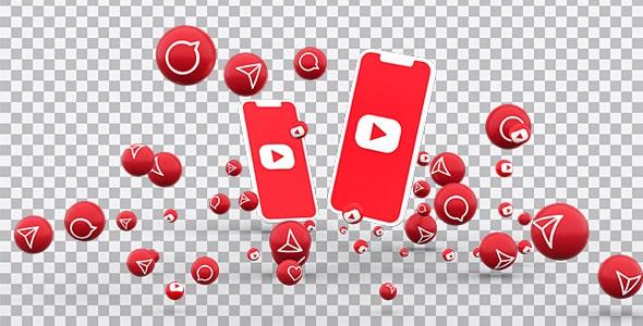 تصویر PNG موبایل و مجموعه آیکون یوتیوب