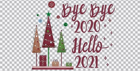 تصویر PNG سال 2021 و درخت کریسمس