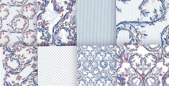 وکتور مجموعه پترن و الگوی گل طراحی انتزاعی
