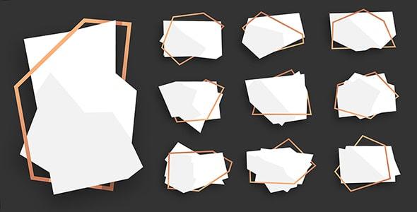 وکتور مجموعه بنر چند ضلعی انتزاعی با قاب