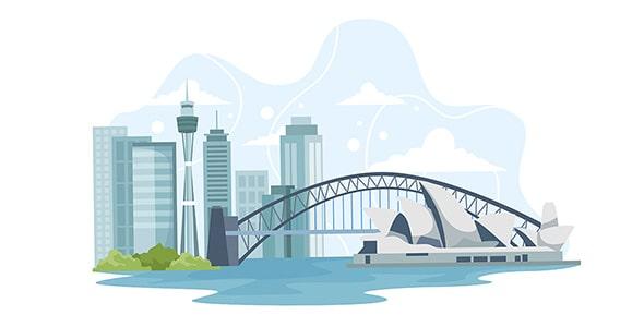 وکتور منظره شهری و دیدنی های استرالیا