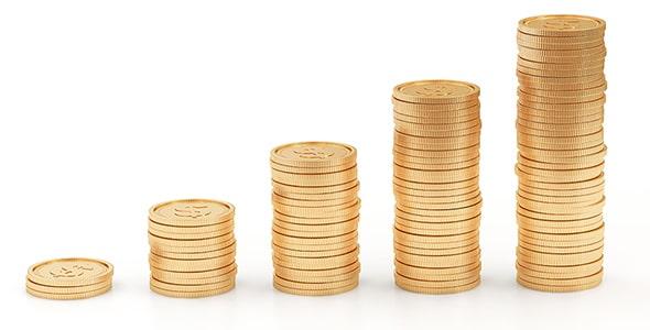 تصویر سکه با مفهوم نمودار و پس انداز