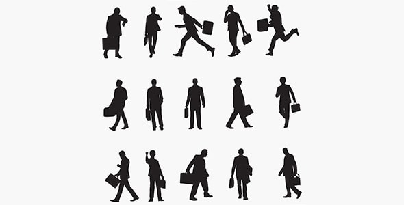 وکتور ضدنور مجموعه کاراکتر مرد تاجر با کیف