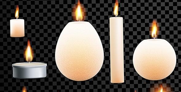 وکتور مجموعه شمع روشن با طراحی واقع گرایانه