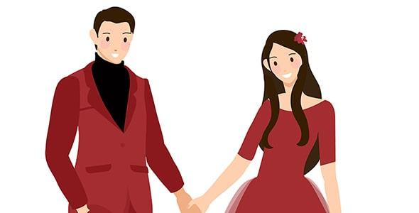 وکتور کاراکتر عروس و داماد جوان با لباس قرمز