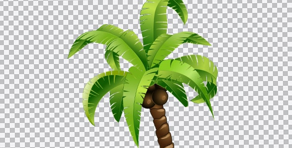 تصویر PNG کارتونی درخت نخل نارگیل