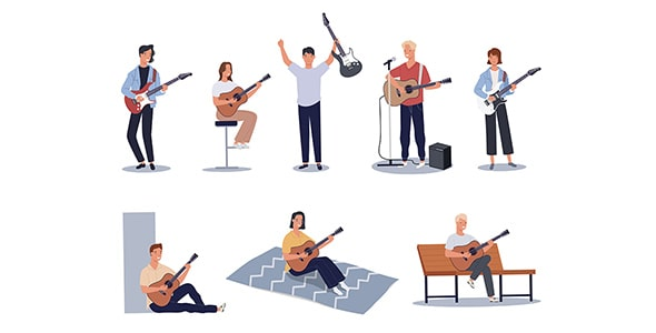 وکتور کاراکتر زن و مرد در حال گیتار زدن