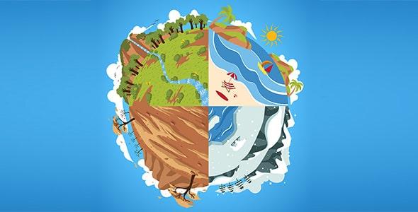 وکتور تصویرسازی کره زمین و چهار فصل سال