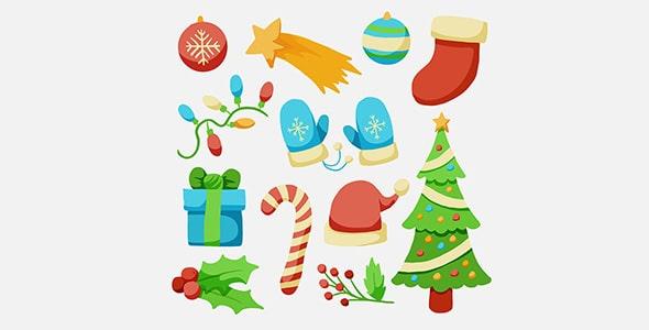 وکتور مجموعه عناصر و آیکون های جشن کریسمس