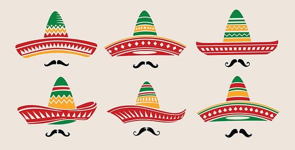 وکتور مجموعه کلاه مکزیکی و سبیل