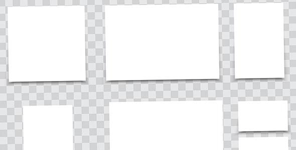 وکتور مجموعه سایزهای مختلف کاغذ سفید