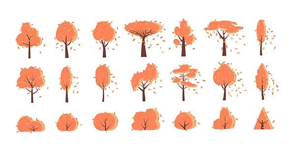 وکتور کارتونی مجموعه درخت و فصل پاییز