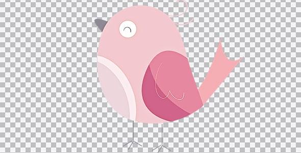 تصویر PNG پرنده کارتونی صورتی