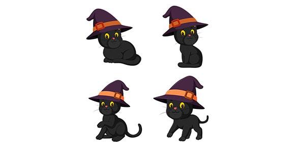 وکتور مجموعه گربه سیاه هالووین با کلاه