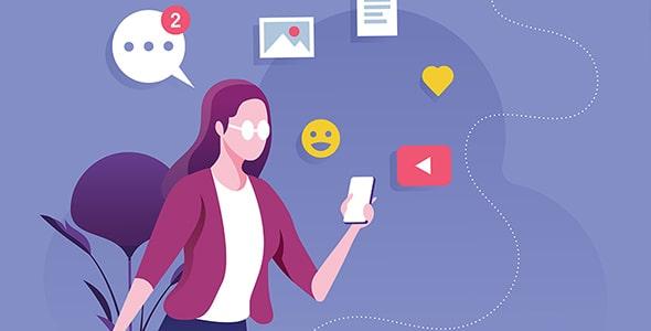 وکتور کاراکتر دختر با مفهوم شبکه اجتماعی