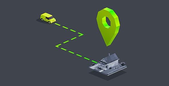 وکتور سه بعدی ماشین و لوکیشن با مسیریاب