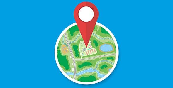 وکتور نمای بالا نقشه شهر و آیکون لوکیشن