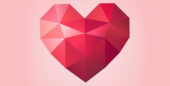وکتور طرح کریستالی قلب قرمز ولنتاین