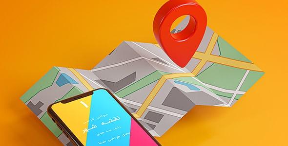 فایل لایه باز رندر 3D موکاپ موبایل روی نقشه