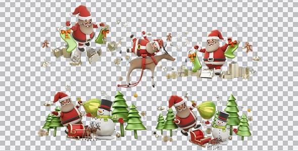 تصویر PNG کاراکتر بابا نوئل و آدم برفی
