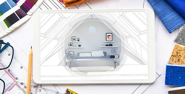 تصویر تبلت با مفهوم طراحی معماری اتاق خواب